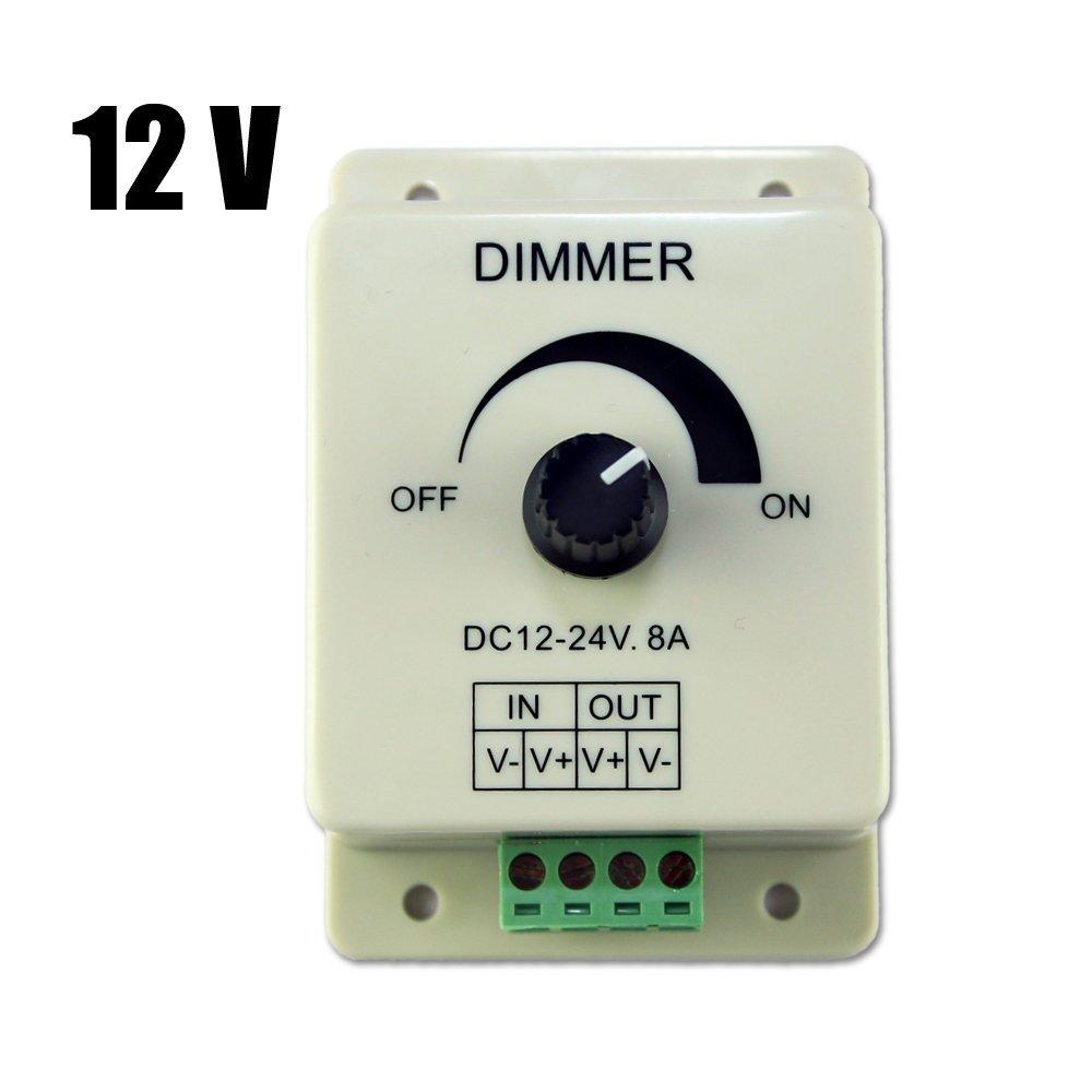 SODIAL(R) DC 12V 8A Light Dimmer Brightness Adjustable Control For Single Color LED Strip