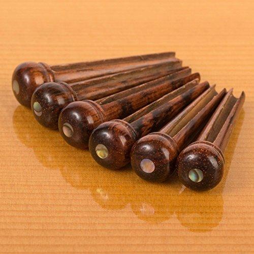 - Waverly Snakewood Guitar Bridge Pins with Abalone Dot, Slotted, Set of 6