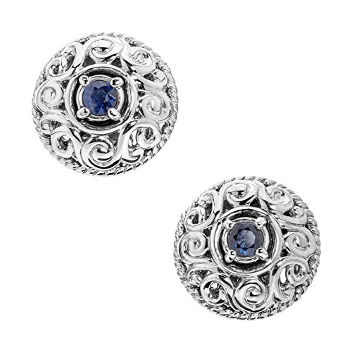 Carolyn Pollack Sterling Silver Blue Sapphire September Birthstone Button Earrings