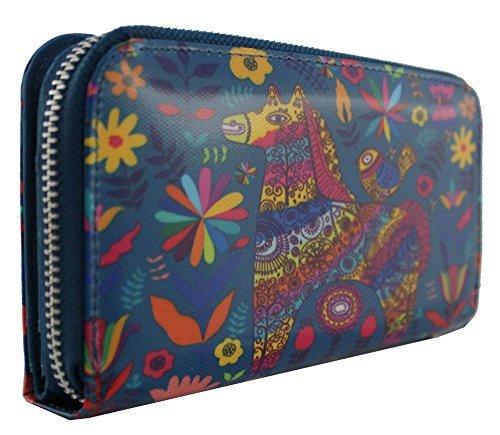 Ladies Tribal Leather Designs Purse Girls Wallet Cartoon New Synthetic Blue Dachshund Large Kukubird Sausage Dog Horse 0vSExgwnqO