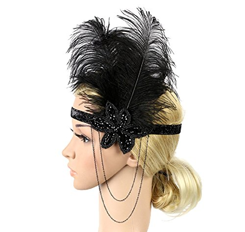 BILIKE Vintage 1920s Headband Great Gatsby Flapper Headpiece For Women Party Costume (Great Gatsby Costumes Female)