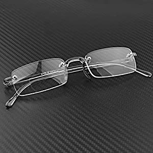 1 Pair Bifocal Lightweight Stylish Frameless Rimless Reader Eye Glasses +2.50 Strength Includes Smoke Portable Hard Case
