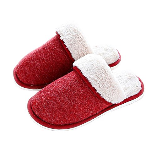 Aunua Unisex Cozy Soft Comfortable Cotton House Slippers Red 4WDt0