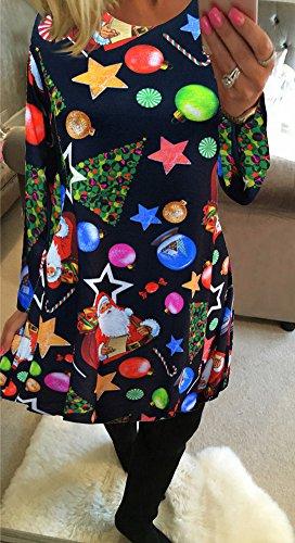 Dress Tipo Mujer A Ropa Camiseta para Nieve Calabaza Mangas Vestido de Minetom Swing Impresión Niñas Largas Line D Navidad TYq1a