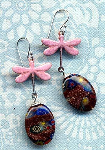 Enamel Artistan Earrings, 925 silver Earrings, Dragonfly Earrings, Goldstone Millefiori Pink Earrings, Pink Dragonfly Enamel Earrings - Millefiori 925 Sterling Silver Ring