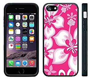 Apple iPhone 6 Black pc Silicone Case - Hibiscus Flowers Pink Pattern Print Hawaiian Tropical Style