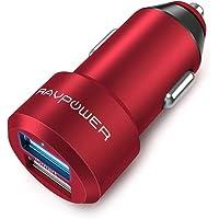 RAVPower Auto Ladegerät 2-Port 24W 5V/4.8A Mini Auto Ladeadapter mit iSmart Technologie für iPhone X XR XS Max 8 Plus, iPad Pro Air Mini, Galaxy S9 S8 Plus, LG, Powerbank, Mp3 usw. Rot