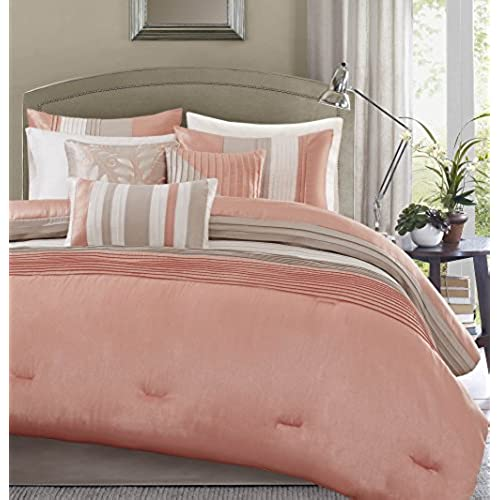 Madison Park 7 Piece Comforter Set, Queen   Coral