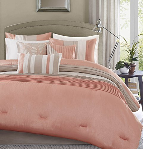 Madison Park Amherst Queen Size Bed Comforter Set Bed in A bag - Coral, Khaki, Pieced Stripes – 7 Pieces Bedding Sets – very tender Microfiber Bedroom Comforters