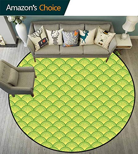 Green Round Rug Classroom,Traditional Japanese Floral Wave Pattern Far Eastern Ornament for Living Room,Apple Green Fern Green Pale Yellow,D-55 ()