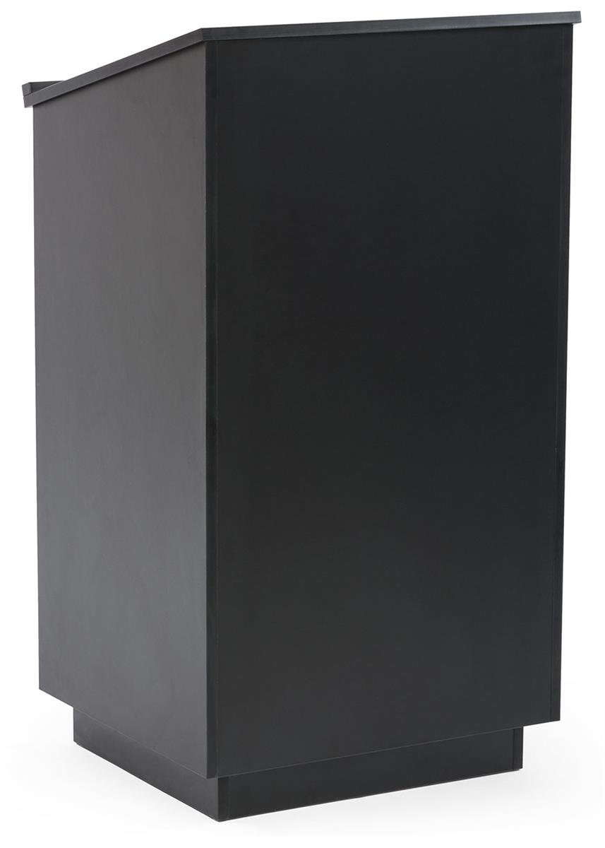 Displays2go 45.5 Inch Tall Podium with Locking Cabinet, Inner Shelf, 25 Inch Wide Angled Surface with Lip, Black (LCTLCKHSTB) by Displays2go