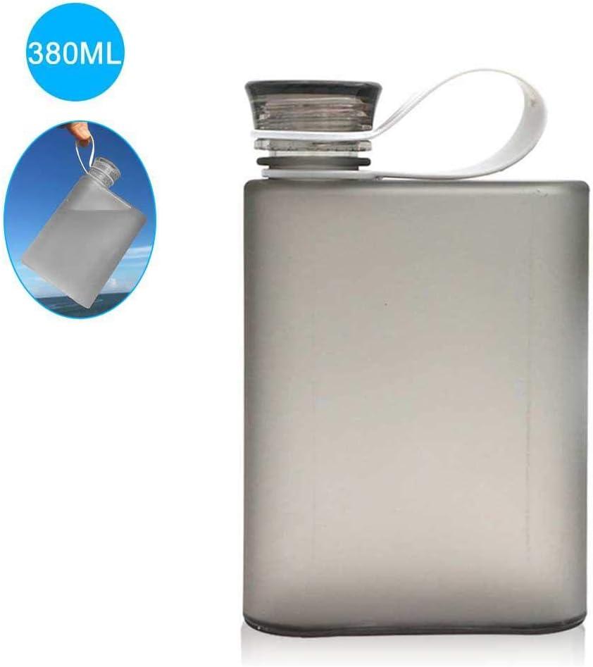 Womdee - Botella de Agua Plana Reutilizable A5 con asa de Transporte, sin BPA, Botella de Agua Plana para la Escuela, Actividades al Aire Libre, Gimnasio, Ciclismo, Senderismo, Deportes, 13 onzas