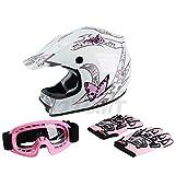 TCMT Dot Youth & Kids Motocross Offroad Street Helmet Pink Butterfly Motorcycle Helmet White Dirt Bike Dirt Bike Helmet+Goggles+gloves L