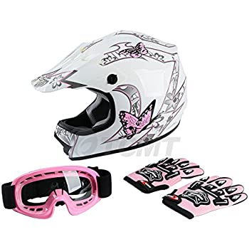 TCMT Dot Youth & Kids Motocross Offroad Street Helmet Pink Butterfly Motorcycle Helmet White Dirt Bike Dirt Bike Helmet+Goggles+gloves (XL, Pink)