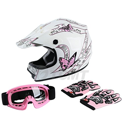 TCMT Dot Youth & Kids Motocross Offroad Street Helmet Pink Butterfly Motorcycle Helmet White Dirt Bike Dirt Bike Helmet+Goggles+gloves M