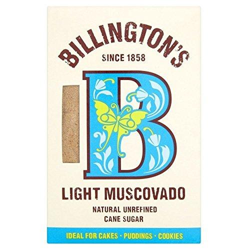 Billington's Natural Light Muscovado Unrefined Cane Sugar (500g) - Pack of 2 (Cane British)