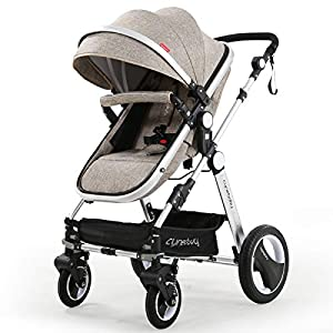 Infant-Toddler-Baby-Stroller-Carriage-Cynebaby-Compact-Pram-Strollers-add-Tray-Khaki