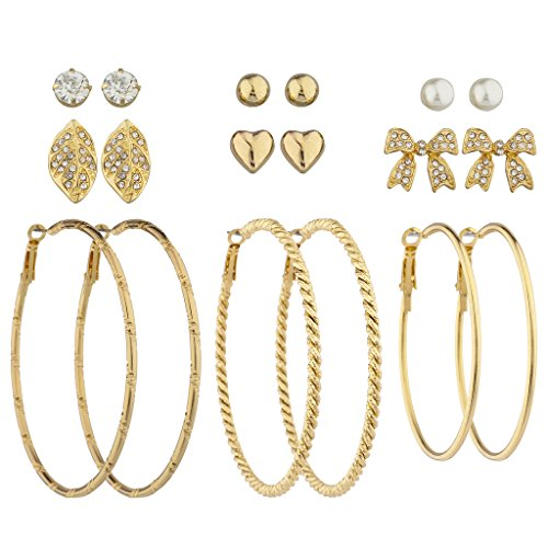 Lux Accessories Goldtone Textured Hoop Rhinestone Bow Leaf Heart Earring Set - Trio Hoop Earrings Set