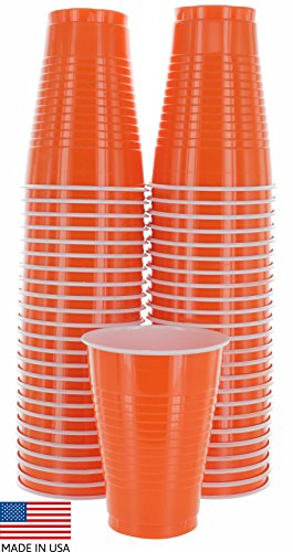 Amcrate Orange Colored 12-Ounce Disposable Plastic Party Cups