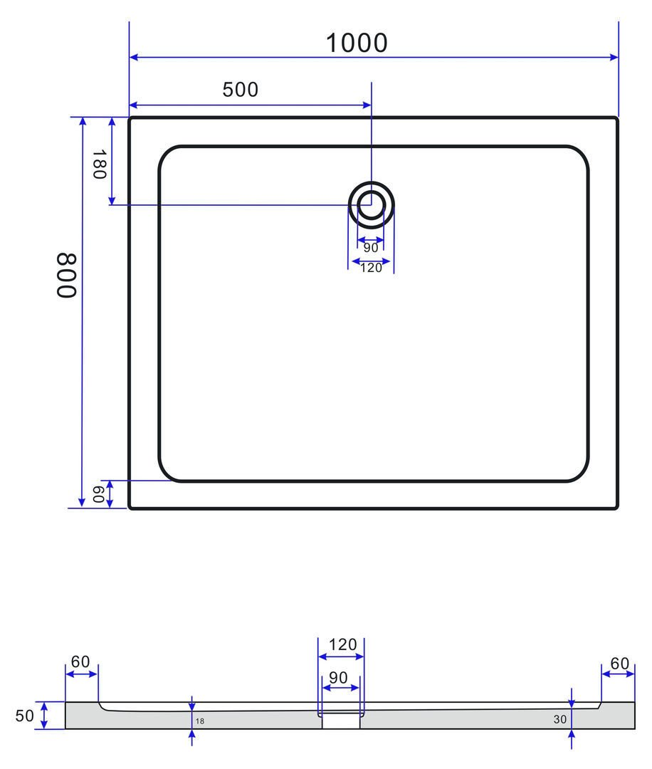 Duschkabine ENCO 100 x 80 x 200 cm inkl Duschtasse