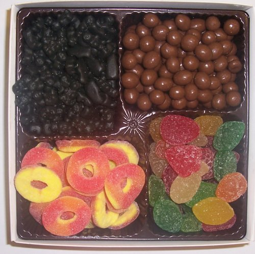 Scott's Cakes Large 4-Pack Peach Rings, Pectin Fruit Gels, Black Licorice Bears, & Chocolate Peanuts by Scott's Cakes