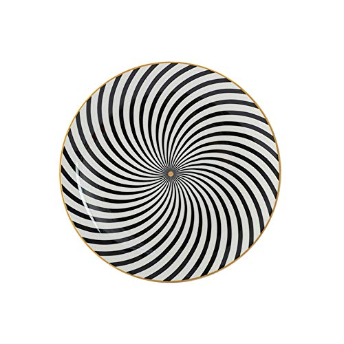 - Eflying Lion Porcelain Dinner Plates,Gold Rimmed Plates,Black and White Dinner Plates,8''/10'' (8'' Dia, A5)