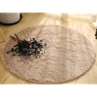 Soft Round Rug,Fluffy Carpet, Bedroom Mats Round Shag Floor Pad for Girls Bedroom Decorate Khaki 2.6ft