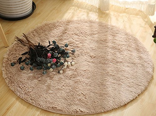 Super Soft Circle Rugs for Girls Princess Castle Toddlers Play Tent 6.6ft Diameter Circular Rugs for Kids Bedroom Baby Room Round Shag Area Playroom Teepee Carpets and Nursery Rugs,Khaki