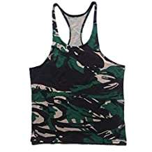 Q&Y Men's Camouflage Y-Back Muscle Stringer Tank Tops Sport Training Undershirt