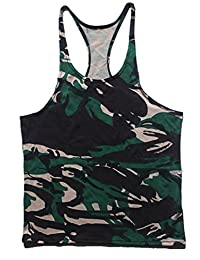 Q&Y Men's Camouflage Y-Back Muscle Stringer Tank Tops Sport Training Undershirt