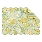 Set of 4 PCS Quilted,13'' x 19'' Placemats, Henley Spa