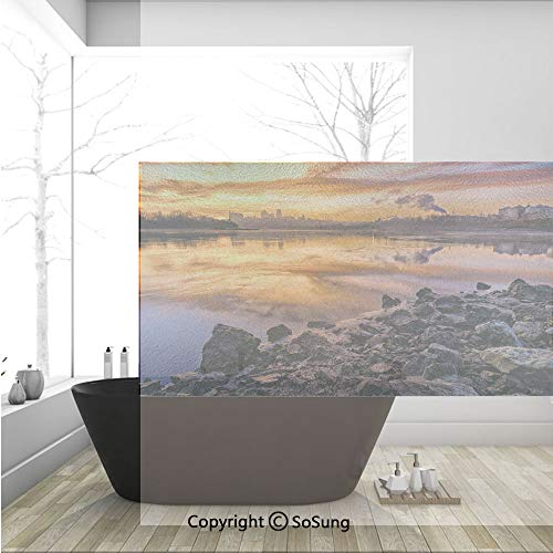 3D Decorative Privacy Window Films,Usa Missouri Kansas City Scenery of a Sunset Lake Nature Camping Themed Art Photo,No-Glue Self Static Cling Glass film for Home Bedroom Bathroom Kitchen Office 36x24