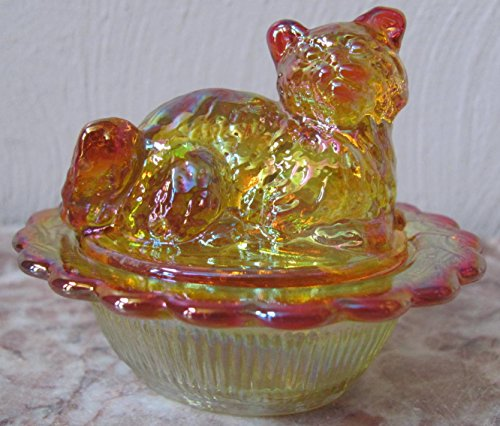 Salt Cellar/Dip - Mini Kitten/Cat - Mosser Glass USA (Marigold Carnival)
