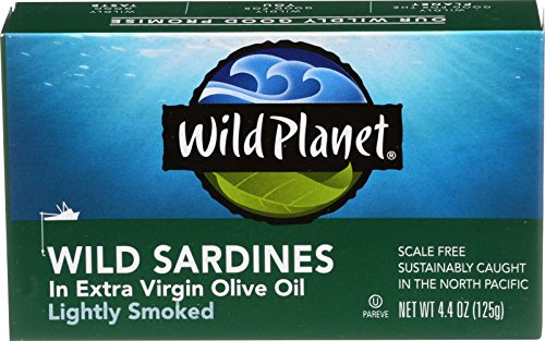 Wild Planet Wild Sardines in Extra Virgin Olive Oil, Lightly Smoked  4.4oz Can (Pack of 12)