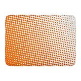 Aabagael Bath Mat Circle Yellow Motion Orange Color Halftone Polka Dot in White Ball Ring Bathroom Decor Rug 16'' x 24''