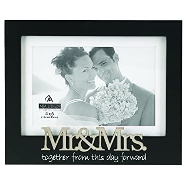 Malden International Designs Wedding  Mr. and Mrs. Expression  Picture Frame, 4 by 6-Inch, Matted Black
