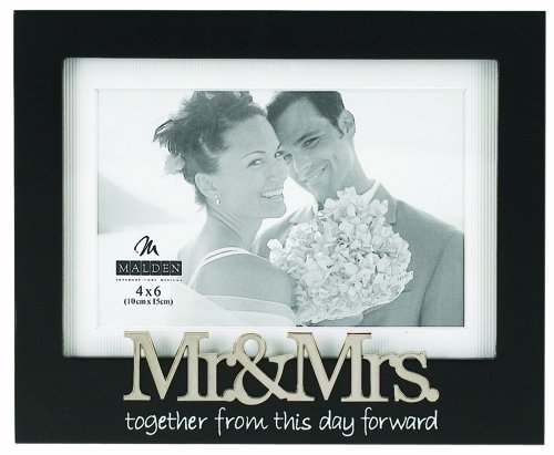 Malden International Designs Wedding Mr. and Mrs. Expression Picture Frame, 4×6, Black