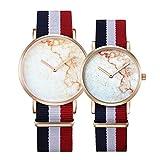 6812 Round Dial Alloy Gold Case Fashion Couple Watch Men & Women Lover Quartz Watches With Nylon Band (SKU : Wa0723a)