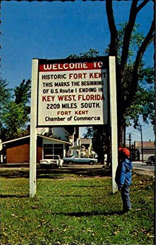 Sign At Begining Of U.S. Rte. 1 Fort Kent, Maine Original Vintage - Rte Us 50
