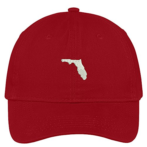 Red Brushed Cotton Cap (Trendy Apparel Shop Florida State Map Embroidered Low Profile Soft Cotton Brushed Baseball Cap - Red)