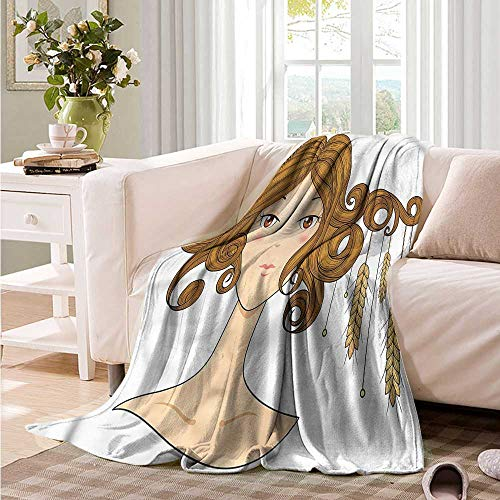 Oncegod Comfort Blanket Astrology Virgo Girl with Wheat Recliner Throw,Couch Throw, Couch wrap 84
