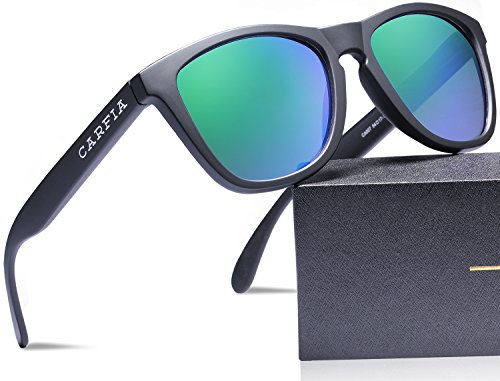 Carfia Polarized Sunglasses for Women and Men, TR90 Lightweight Frame & 100% UV400 Protection (Matte Black Green Mirror) (Carfia Vintage Womens Polarized Sunglasses With Uv400 Protection)