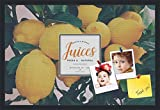 PinPix decorative pin cork bulletin board made from canvas, Recipe Board with Lemon Tree 30x20 Inches (Completed Size) and framed in Satin Black (PinPix-Group-36)