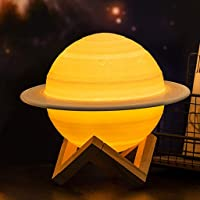 Moon Lamp | Saturn Lamp | Solar System LED Night Light| Plug-In, Dusk-to-Dawn Sensor | Auto On/Off | Features the Solar System|3D Light Lamps for Home, Office Decor, Creative Gift|Reading Lamp