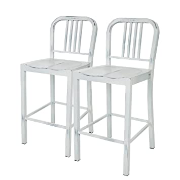 Wondrous Glitzhome Vintage Metal Back Counter Bar Stools White Set Of Two Caraccident5 Cool Chair Designs And Ideas Caraccident5Info