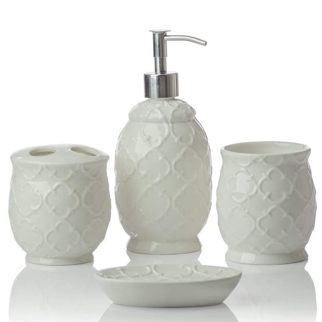 Amazoncom Designer 4 Piece Ceramic Bath Accessory Set Includes