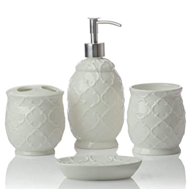 Designer 4-Piece Ceramic Bath Accessory Set | Includes Liquid Soap or Lotion Dispenser w/Toothbrush Holder, Tumbler, Soap Dish | Moroccan Trellis | Contour White