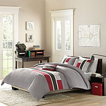 Amazon Com Twin Red Black Gray Loft Living Geo Blocks