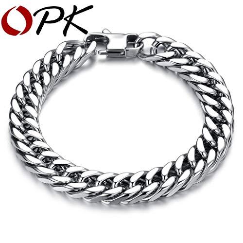 OPK Simple Punk Design Man Link Chain Bracelets Fashion 19cm/20cm/21cm/22cm Long Full Stainless Steel Charm Men Jewelry Classic Stainless 200x8mm