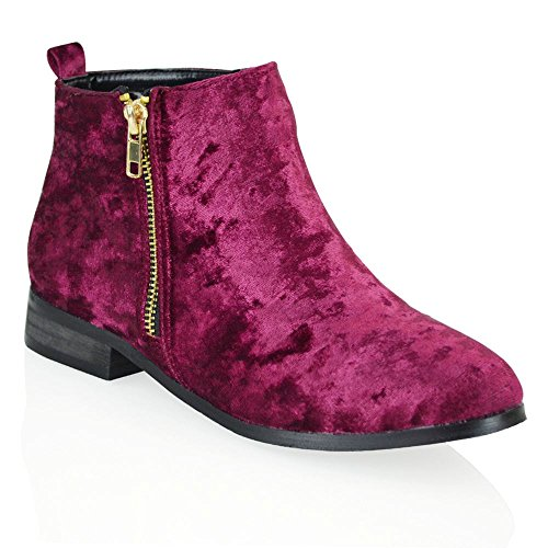 Pour ESSEX Plat Womens GLAM New Velvet Biker Zip Talon Femmes Chelsea Gold Equitation Bottines 7q7YrA